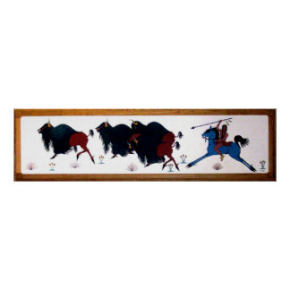 Mural de la caza del búfalo de Charlee del estalli Póster