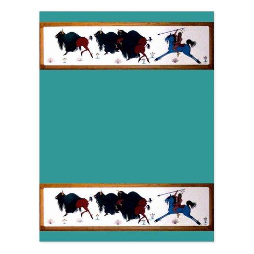 Mural de la caza del búfalo de Charlee del Tarjeta Postal