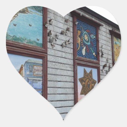 Mural de la tienda de Bolinas Pegatina En Forma De Corazón