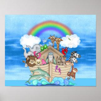 MURAL del ARCO IRIS de la arca de Noahs de la DECO Póster