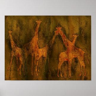 Mural del arte de las jirafas póster