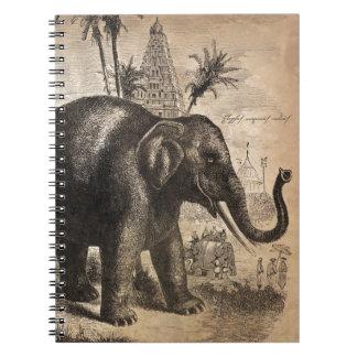 Mural del elefante del vintage libreta espiral