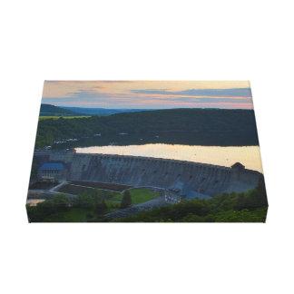 Mural Edersee concrete dam sunset Canvas Print