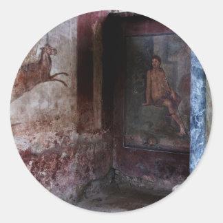 Mural en Pompeya Pegatina Redonda