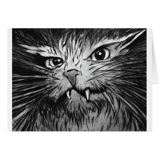 Mural enojado del gato felicitaciones
