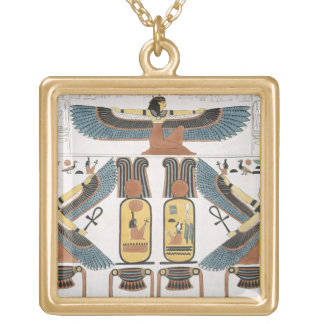 Mural from the Tombs of the Kings at Thebes, disco Gold Plated Necklace