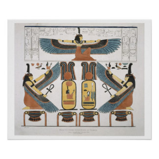 Mural from the Tombs of the Kings at Thebes, disco Poster