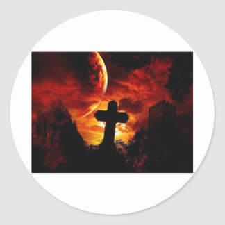 mural_gothic-cross round stickers