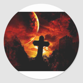 mural_gothic-cross round sticker