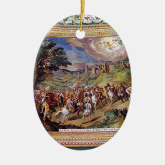Mural in the Vatican Museum Double-Sided Oval Ceramic Christmas Ornament