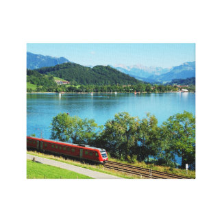 Mural of large Alpsee with Immenstadt Canvas Print