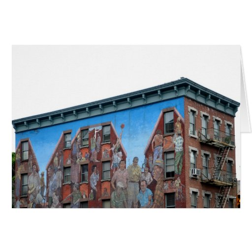 Mural on building in spanish harlem greeting card zazzle for Mural on building