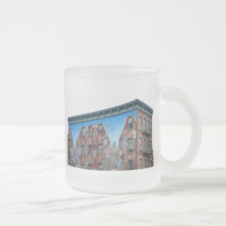 Mural on building in Spanish Harlem Frosted Glass Coffee Mug