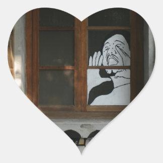 Mural on house, Taipei, Taiwan Heart Sticker