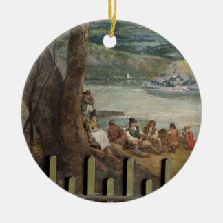 Mural painting from Drakelowe Hall, nr. Burton on Double-Sided Ceramic Round Christmas Ornament
