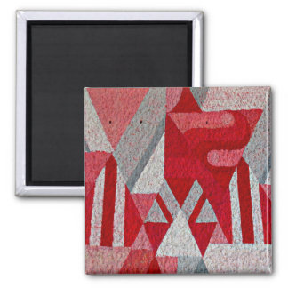 Mural rosado, rojo y gris abstracto imán cuadrado