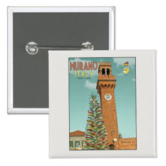 Murano Camapnile and Glass Tree 2 Inch Square Button