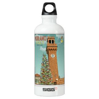 Murano Camapnile and Glass Tree Aluminum Water Bottle