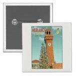 Murano Camapnile and Glass Tree Pinback Button