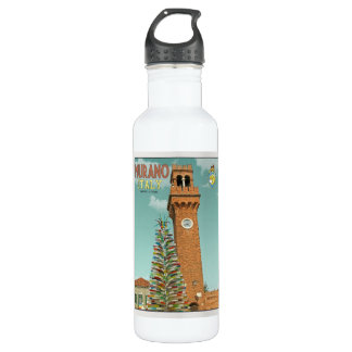 Murano Camapnile and Glass Tree Stainless Steel Water Bottle