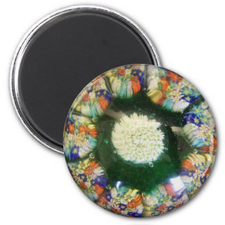 "Murano glass paperweight design, colored ""flowers"" 2 inch round magnet"