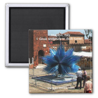 Murano, Italy Clock tower and Glass sculpture 2 Inch Square Magnet