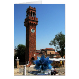 Murano, Italy Clock tower and Glass sculpture Card