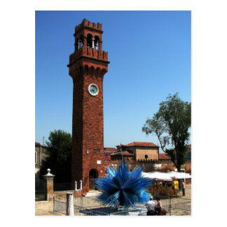Murano, Italy Clock tower and Glass sculpture Postcard