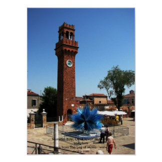 Murano, Italy Clock tower and Glass sculpture Poster