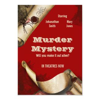 Murder investigation movie poster birthday 5x7 paper invitation card