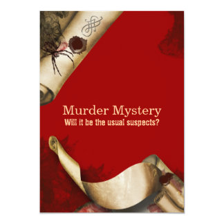 Murder investigation who dun it 5x7 paper invitation card