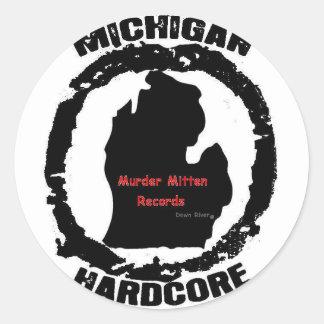 murder mitten classic round sticker