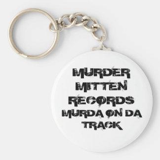 MURDER MITTEN RECORDS, MURDA ON DA TRACK BASIC ROUND BUTTON KEYCHAIN