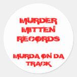 MURDER MITTEN RECORDS , MURDA ON DA TRACK ROUND STICKER