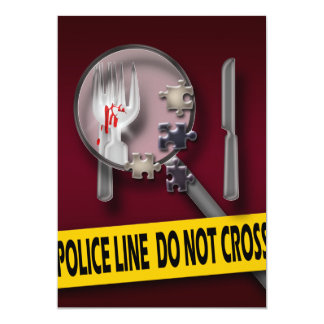 Murder mystery burgundy crime birthday 5x7 paper invitation card