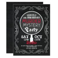 Murder Mystery, Chalkboard Birthday Party Invitation