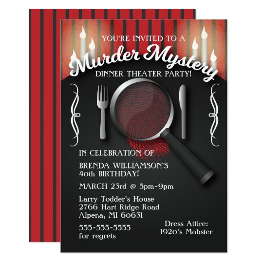 murder mystery dinner theater party invitation. Black Bedroom Furniture Sets. Home Design Ideas