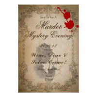 Murder Mystery Evening Poster Template Vintage