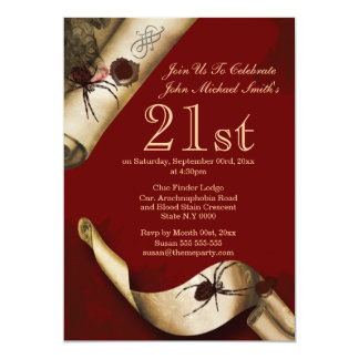 Murder mystery red whodunnit 5x7 paper invitation card
