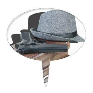 MurderMysteryBooksGunKnivesFedora042113.png Cake Toppers