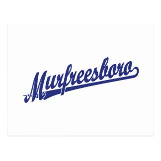 Murfreesboro script logo in blue postcard
