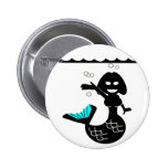 Muriel MacBubbles - Hyperactive Mermaid Pinback Button