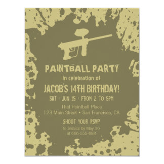 Murky Splatter Paintball Birthday Party Invites