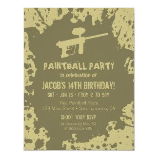 Murky Splatter Paintball Birthday Party Invites