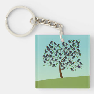 Murmuration of Starlings Double-Sided Square Acrylic Keychain
