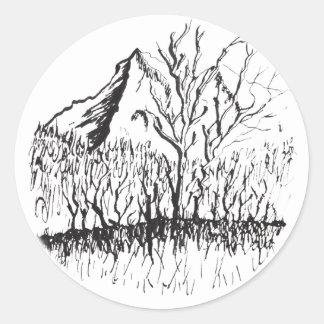 Murmurs the mountain classic round sticker