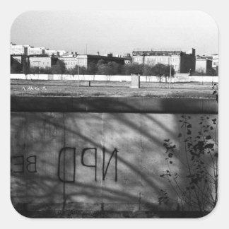 Muro de Berlín 1970 de Alemania Pegatina Cuadrada