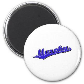Murphy  script logo in blue 2 inch round magnet