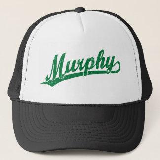 Murphy script logo in green trucker hat