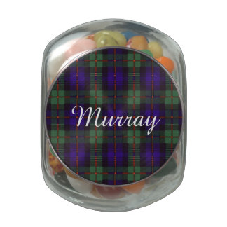 Murray clan tartan scottish plaid glass candy jar